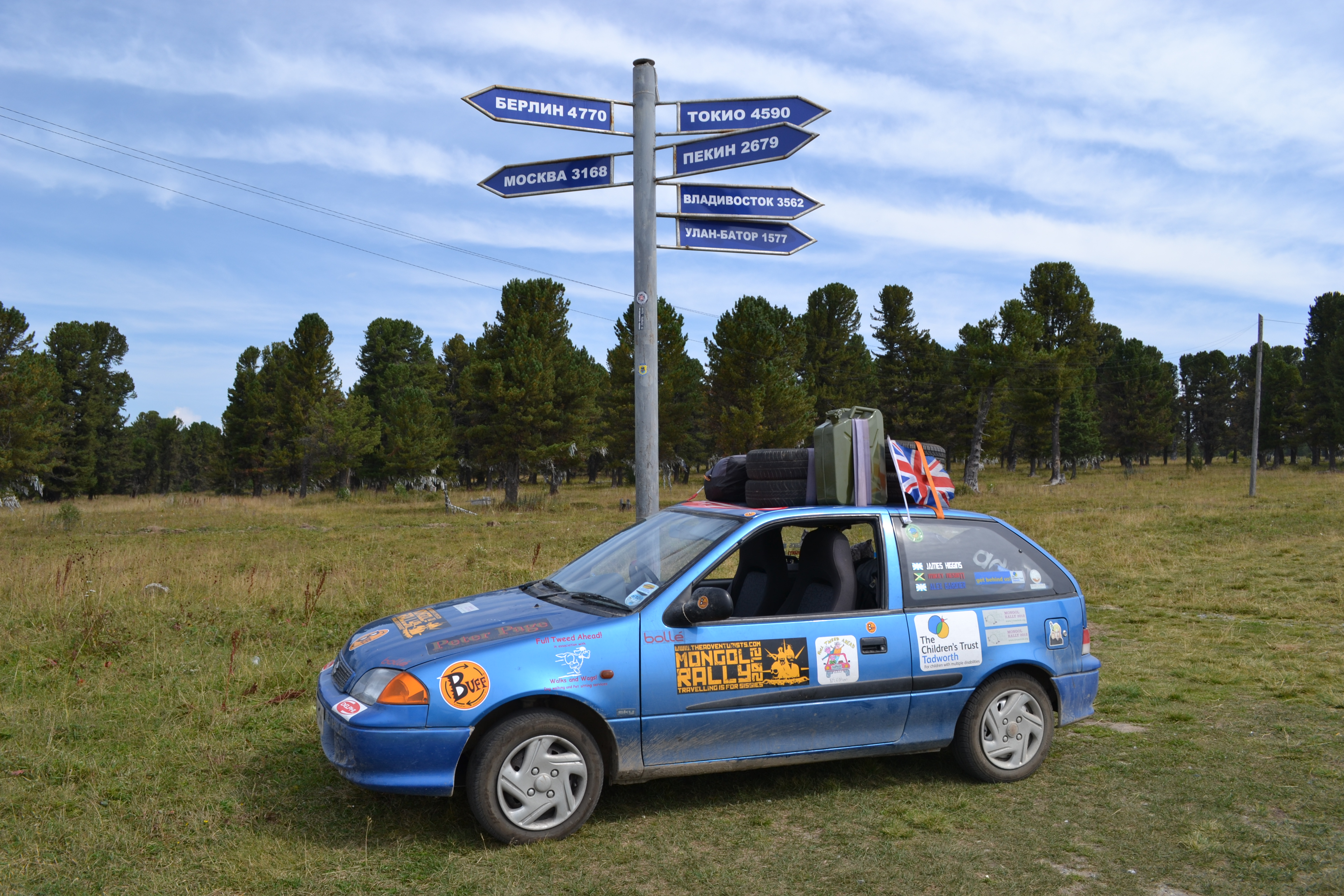 russian signpost, russia, mongol rally 2013, mongol rally 2012