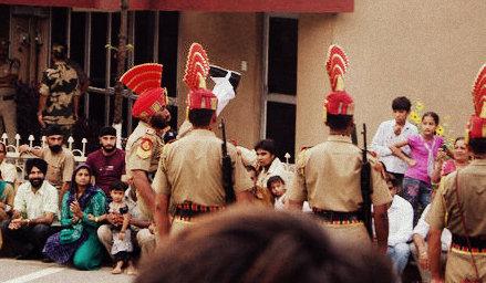 high kicking at wagah, border closing ceremony