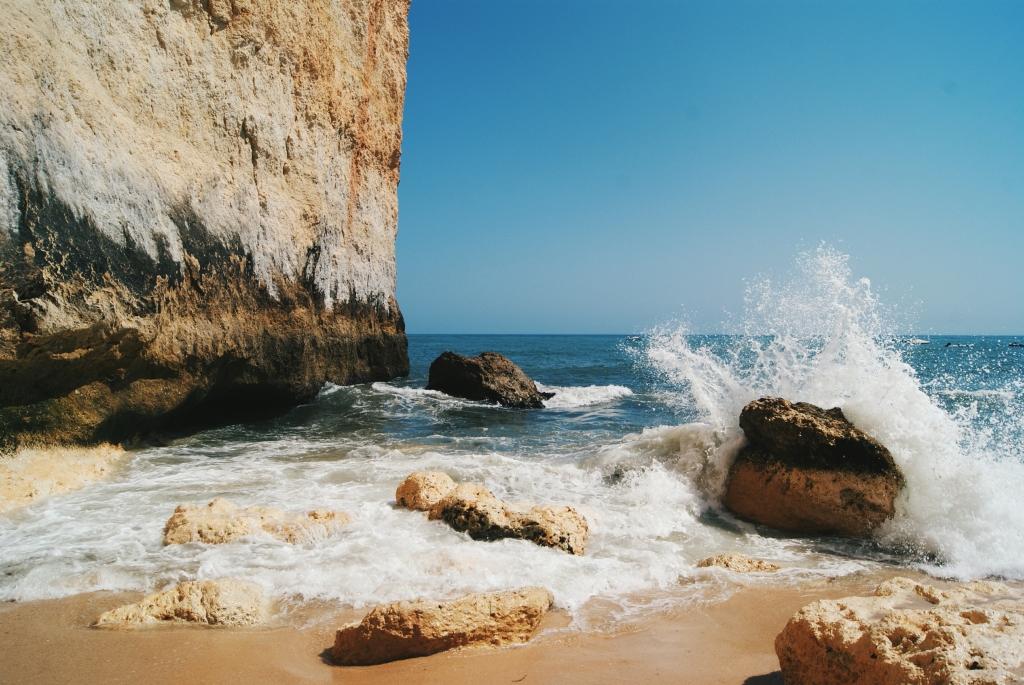 benagil beach, portugal waves, portugal beach
